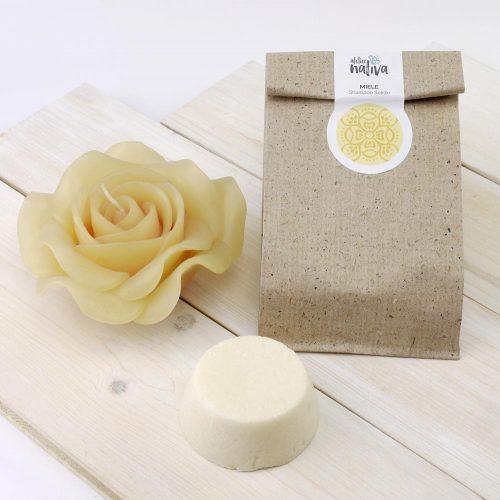 shampoo solido al miele e sua confezione