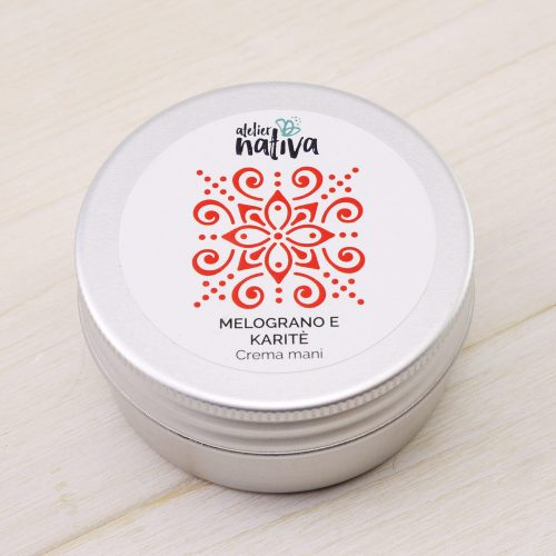 crema mani melograno e karitè Atelier Nativa in latta da 50mL